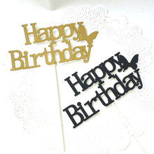 Happy Birthday Cake Topper Flags Glittler Butterfly Party Baking Decoration Gold Black