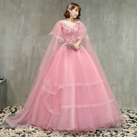 ruthshen Hot Sell 2018 Pink Lovely Quinceanera Dresses Long Sleeves 3D Appliques Puffy Formal Gown Prom Dress Ball Gowns