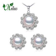 MITUO Pearl Jewelry sets 925 Sterling Silver stud earrings,