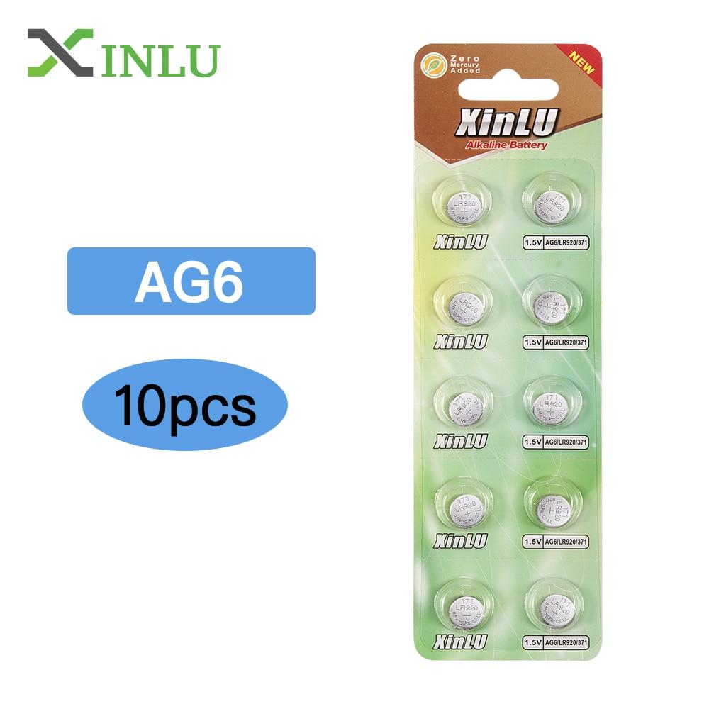 10pcs AG6 371 SR920SW LR920 SR927 171 370 L921 LR69 SR920 1.55V Button Cell watch Coin Alkaline Battery , XINLU Battery ag11 1 55v alkaline cell button battery 20 pieces pack