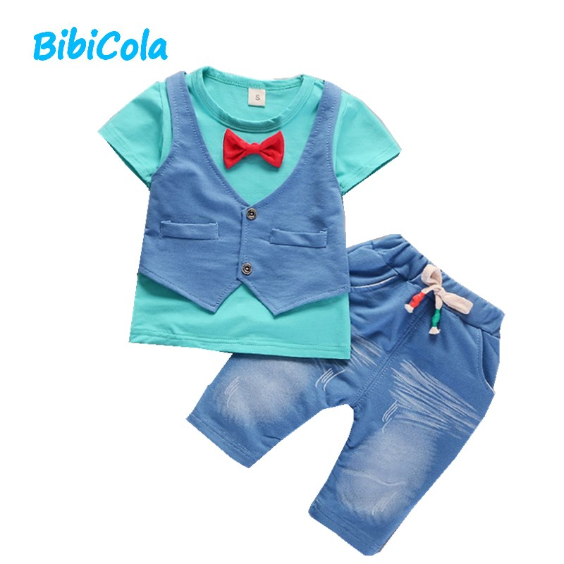 BibiCola Baby Boy Summer Clothing Sets Kids 2pcs Clothes Suit Children T-shirt + Short pants Outfit Set  Gentleman Clothing Sets
