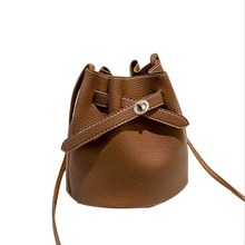 Ladies Shoulder Bags Litchi Bucket For Women Drawstring Lock Crossbody Casual New Student PU Leather Mini Female Pouch