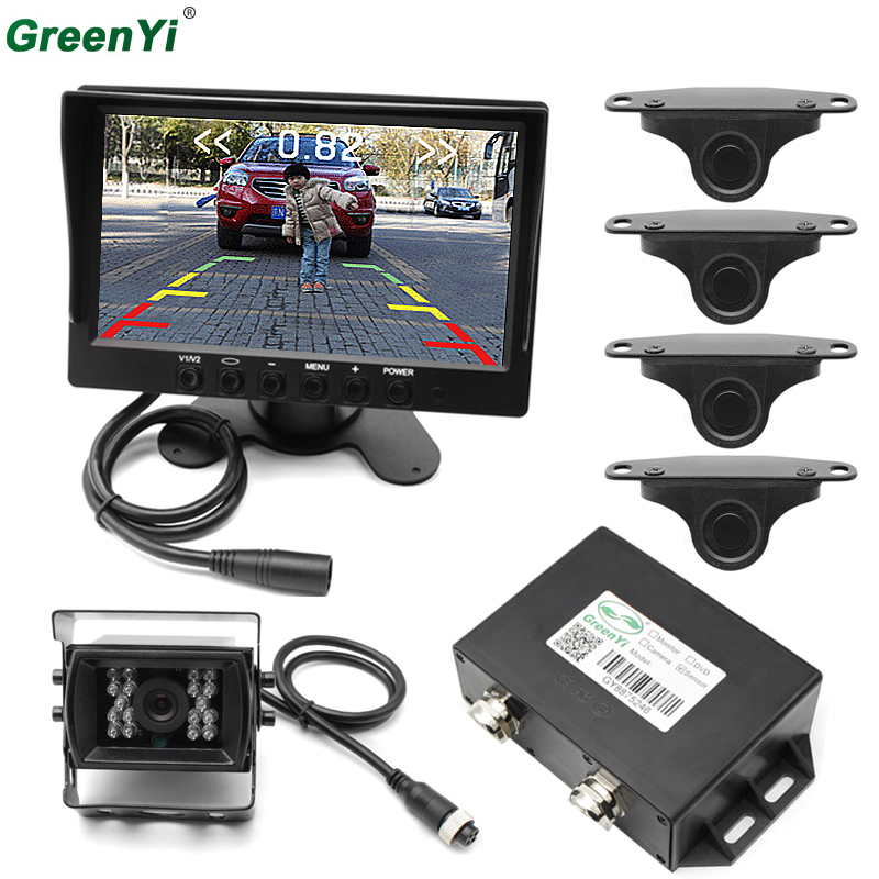 GreenYi 7Car Monitor Rear Reverse Camera Video Parking Sensors Reverse Backup Radar Bus  ...