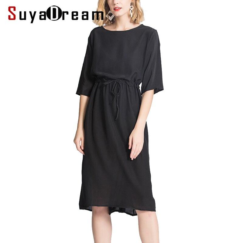 여성 실크 드레스 100% 실크 크레페 캐주얼 벨트 드레스 여성용 반팔 a 라인 2019 여름 블랙 드레스-에서드레스부터 여성 의류 의  그룹 1