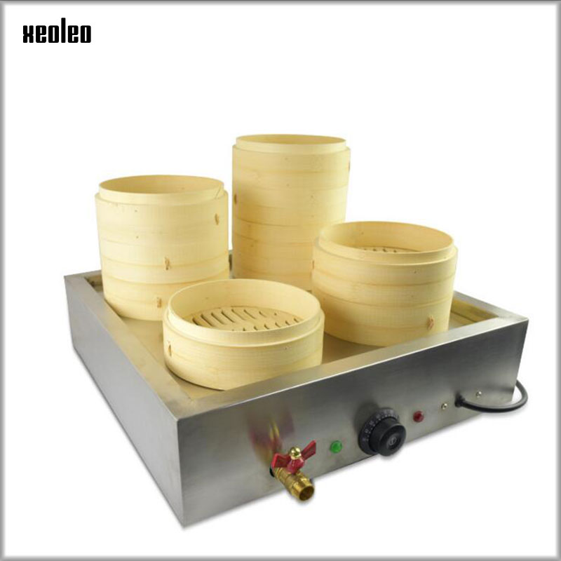 XEOLEO Bench top Four-hole Steaming Furnace Multifunction Electric Steam Boiler Stainless Steel Steamed Dumpling Machine 3000WXEOLEO Bench top Four-hole Steaming Furnace Multifunction Electric Steam Boiler Stainless Steel Steamed Dumpling Machine 3000W