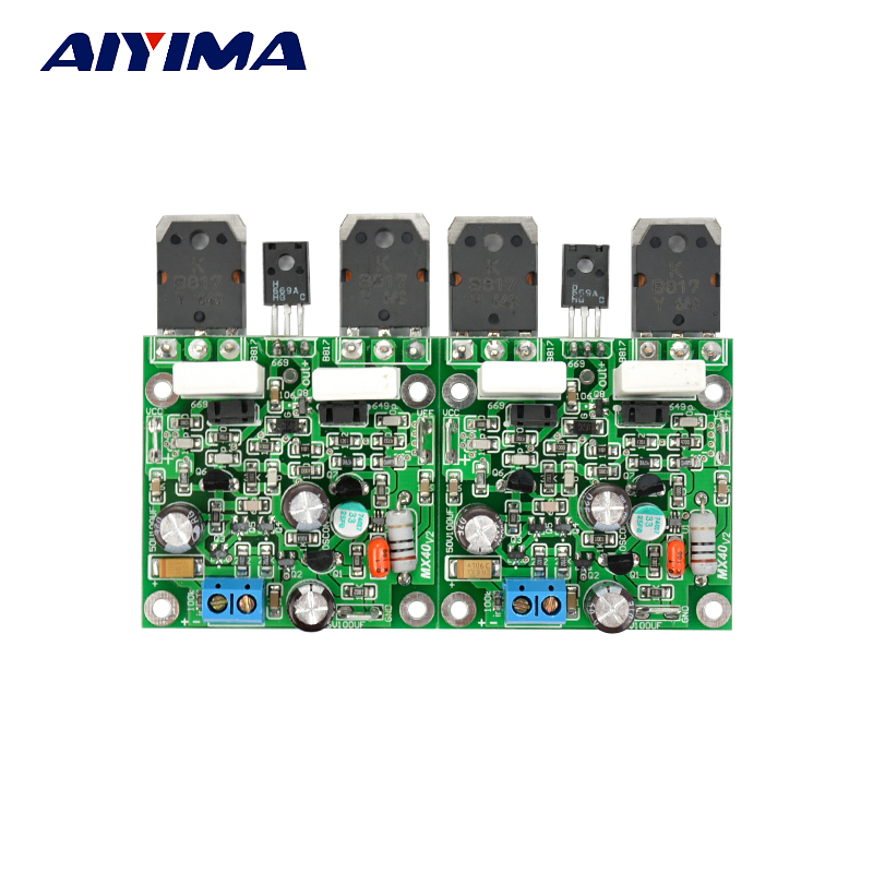 Aiyima 2PCS MX40 Dual Channel Stereo Audio Power Amplifier Board Amplificador 50W 8R