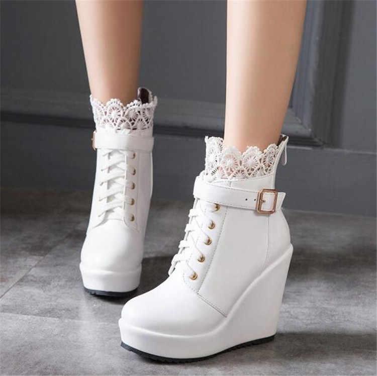 503fd9118e PXELENA Elegant Ruffles White Women Wedding Boots Bridal hoes Lace Up  Platform Wedge High Heels Ankle