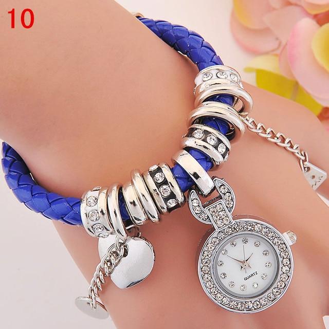 c7db7f47ced Moda Casual Feminino relógios de Pulso de Quartzo Pingente de Amor Pulseira  de Relógio Bonito Tecer