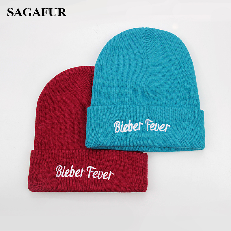 9ed61c9d2a1a Quality Acrylic Winter Knitted Hats Female Embroidery Bieber Fever Skullies  Beanies For Men Caps Women's Fashion Outdoor Bonnet
