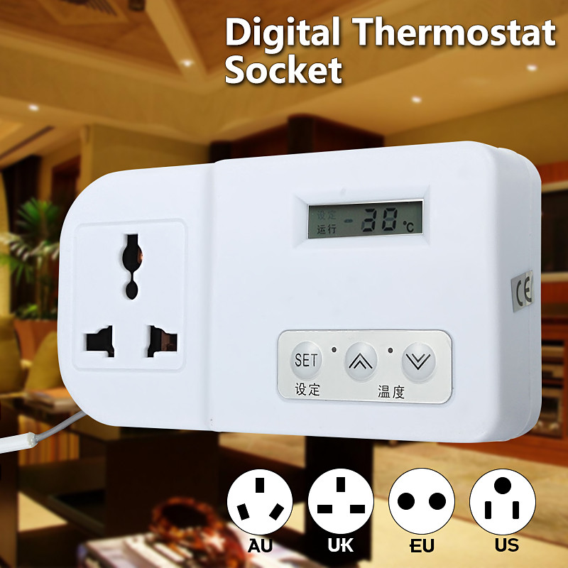 Digital AC 220V/110V 2000W EU/US/AU/UK Refrigerator Thermostat Temperature Controller For Aquarium Greenhouse Heat Cool Mode