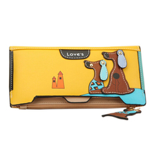 Sansarya 2018 Yellow Dog Pendent Wallet Cute Dog Print Long PU Leather Zip Hasp Patchwork Credit Card Holder Bag Female Purse