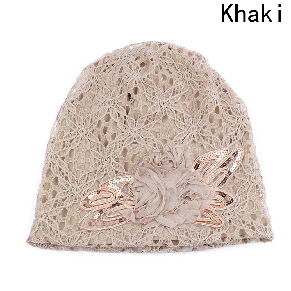 Autumn Winter 5 Colors Hollow Women's Hat Lace Flower Beanie Scarf Cap Double Layer Hats For Women New Gorro Feminino Headwear