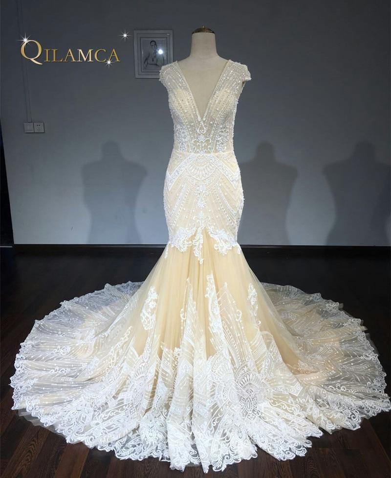 2018 Do Laço Do Vintage Da Sereia Do Vestido de Casamento Turquia Vestido de Novia Frisada Lace Sheer Vestidos de Noiva Robe de mariee Sexy Vestidos de Casamento