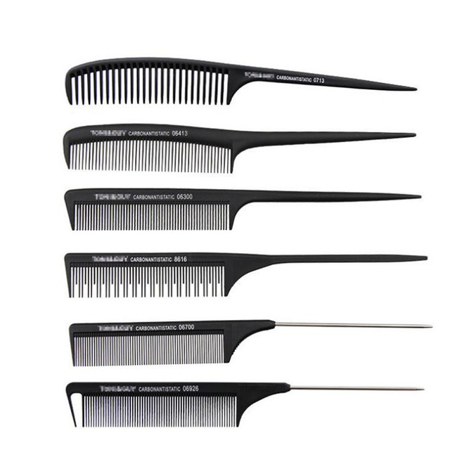 1 Pc New Professional Black Hard Carbon Cutting Comb Heat Resistant Salon Hair Trimmer Brushes Metal Pin Tail Antistatic Comb