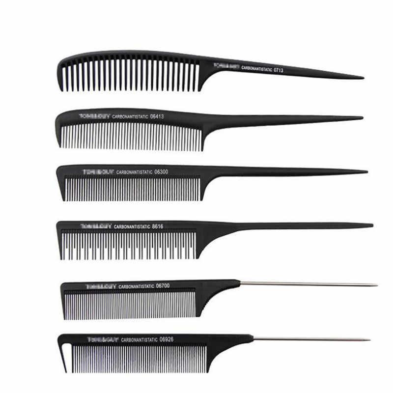 1 шт. Новая Профессиональная черная жесткая углеродная Расческа для стрижки термостойкая салонная триммер для волос кисти Металлическая Булавка хвост Антистатическая расческа