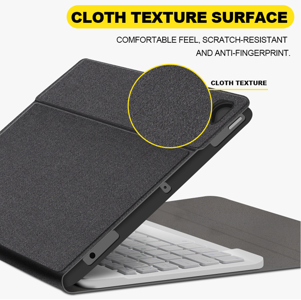 For iPad Pro 11 10.5 2018 2017 Keyboard Case With Pencil Holder Cloth Texture Silicone Back Cover For iPad Air 3 2019 Case Funda (8)