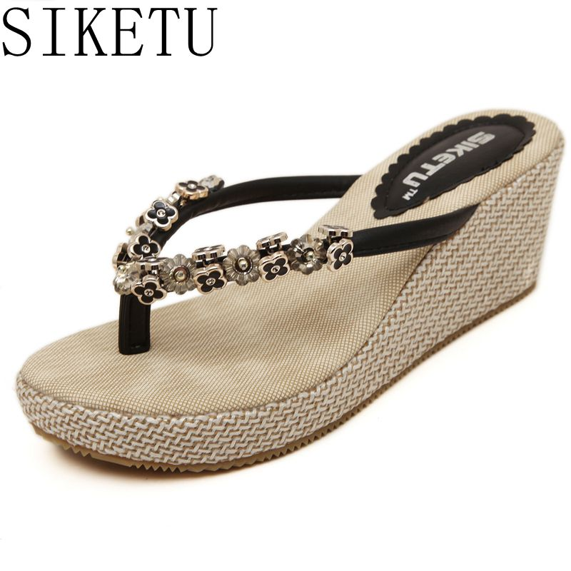 SIKETU Bling Rhinestones Women Summer Style Shoes Slip Flops Tong Shoes Size 34 40 666 1