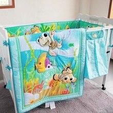 7PCS embroidery Ocean Baby Bedding kit berço Cartoon Newbor