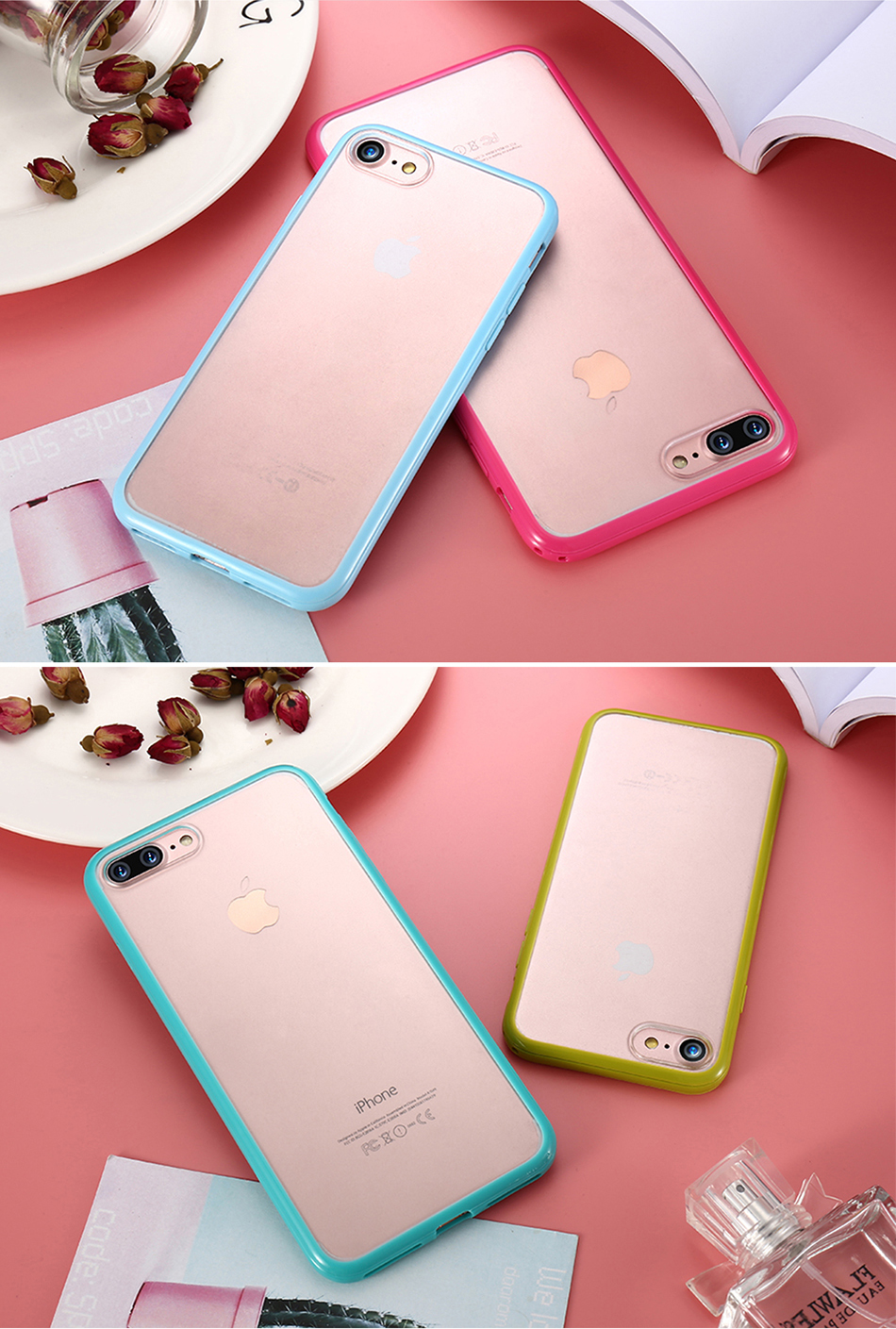 MR.YI Candy Color Frame Phone Case For iPhone 7 For iPhone 7 Plus Colorful Matte Clear Transparent Cover Case For iPhone 7 Plus (14)