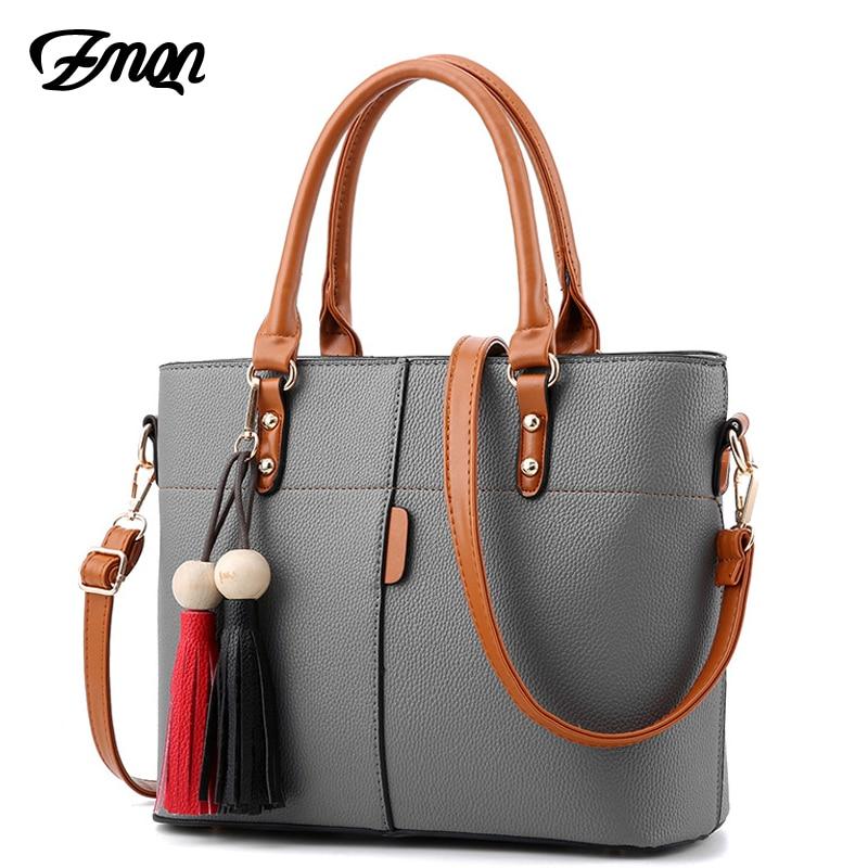 ZMQN Ladies Handbags 2018 Women PU Leather Handbags Ladies Shoulder Cross Body Bag Tassel Patchwork Casual Tote New Arrival B737