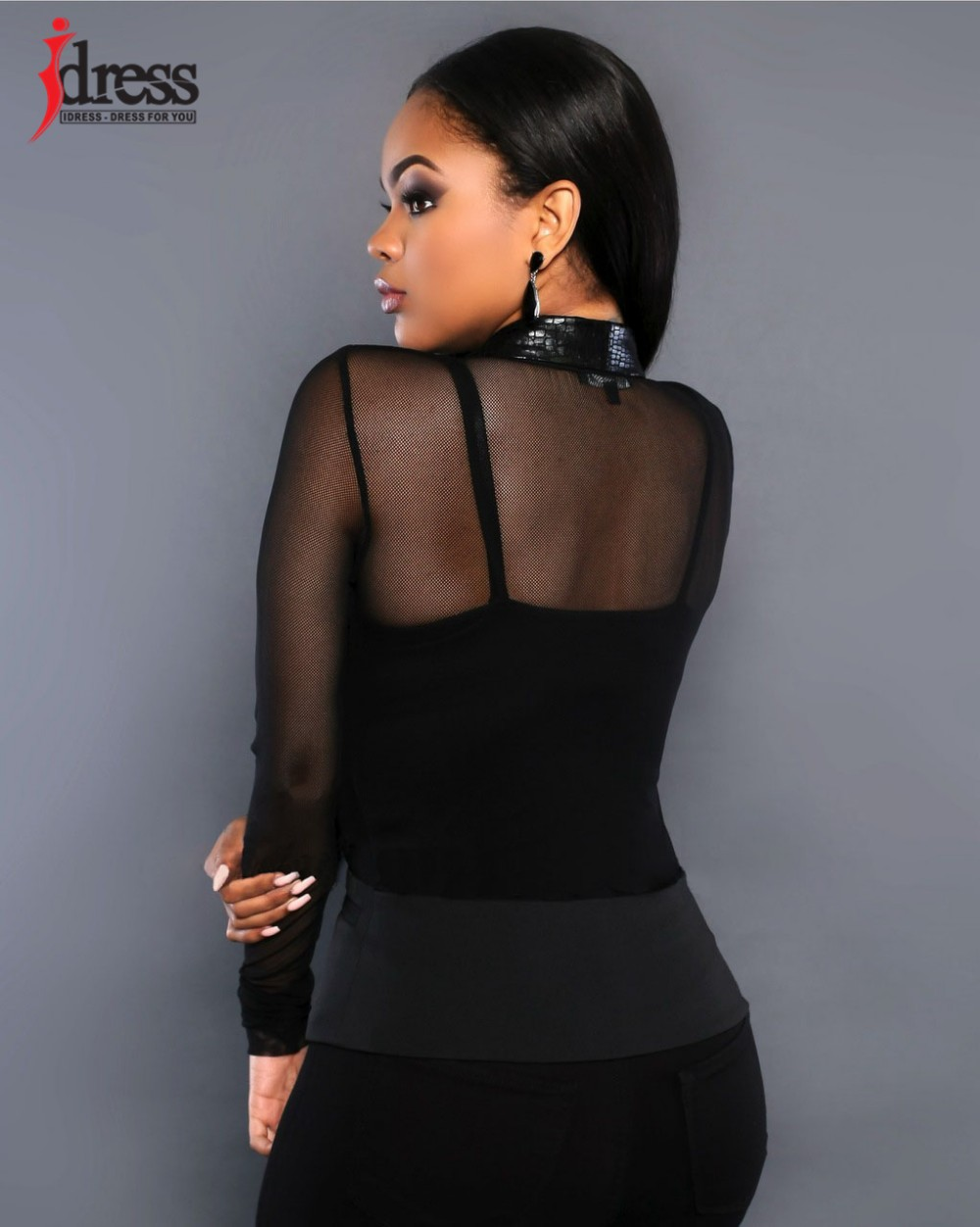 IDress Women Blazer Jackets 2016 Fashion Mulher Sexy Blazer Women Button Veste Femme Blazer Mesh Leather Partchwork Long-Sleeve Slim Blazer Women Blazers (4)