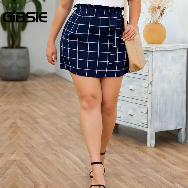 GIBSIE Plus Size Elegant Ladies Summer Plaid Skirt Women Casual Office Belted High Waist Pocket A Line Mini Skirts New 2019 5