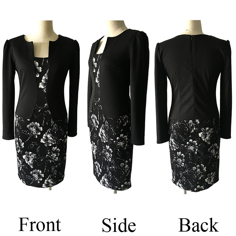 OX087 black flower print 3d