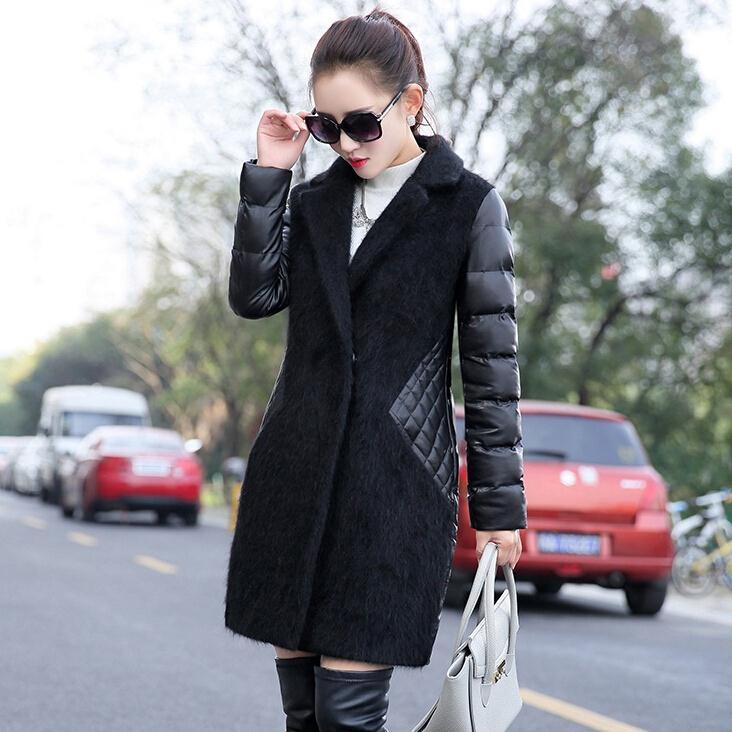 ФОТО Wholesale 2017 New Winter Fashion Women Coats Big Yards mink Fur stitching PU Slim Coat women mid-long warm Jackets F3859