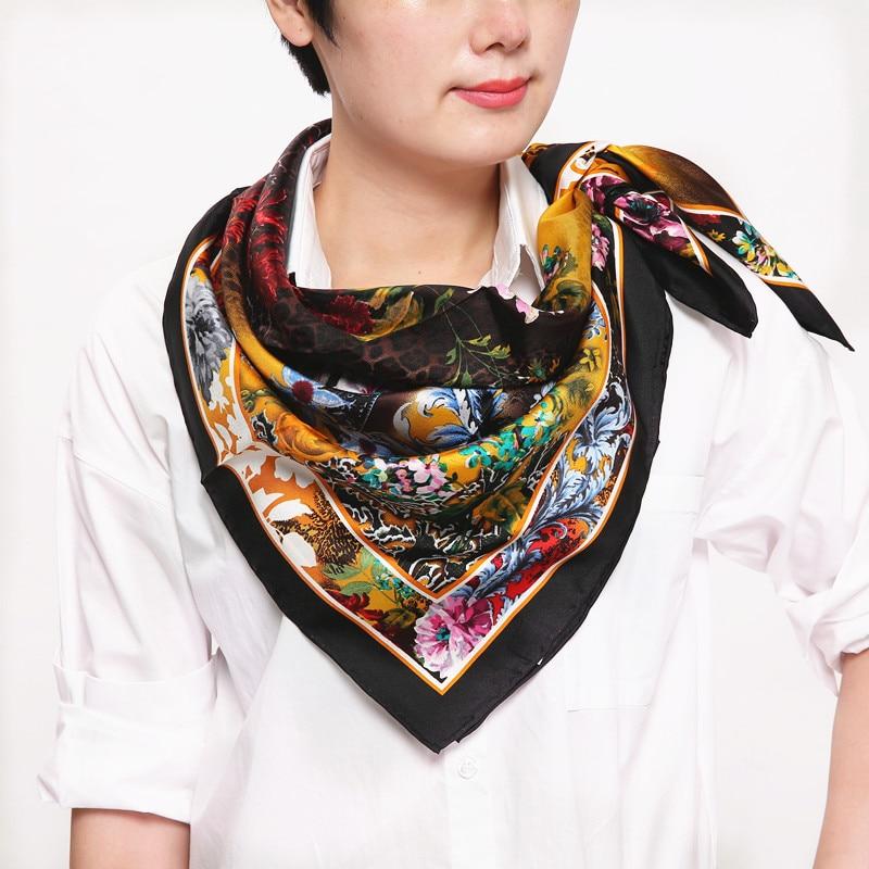 100% hedvábná dámská čtvercová šála, čínský malířský styl, Materiál: keprové hedvábí, velikost: 88x88, tloušťka14mm zlatá