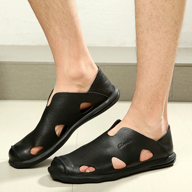 Top Quality Men Gladiator Sandals Genuine Leather Closed Toe Slip On Summer Flat Casual Shoes