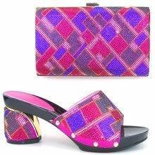 Multi Farbe Frauen Sandale Schuhe Und Tasche Set Mit Strass Hochwertigen African Italienische Schuhe Mit Passender Tasche Set TH01
