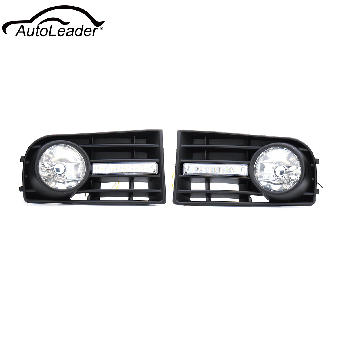 Pair Car Front DRL Fog Light Lamps Grilles + Wiring Harness Switch Fog Lamp For VW Golf 5 2006-2009 Yellow Light car fog lights lamp for mitsubishi triton 2 door 2009 on clear lens pair set wiring kit fog light set free shipping