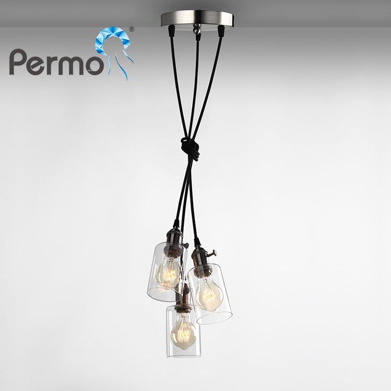 PERMO Vintage Glass Rope Pendant Lights Ajustable Pendant Ceiling Lamps Modern Hanglamp Luminaire Lights Fixture