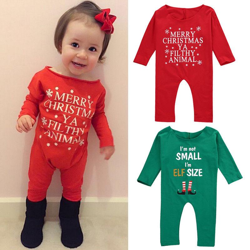Newborn Infant Baby Girls Xmas Romper Jumpsuit Outfits Sunsuit Clothes Children Rompers Stuff
