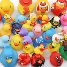 Купить с кэшбэком Baby bathroom water toy rubber duck 100pcs new duck swimming pool floating play water toy duck style random delivery