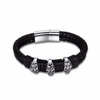 Fashion Genuine Leather Bracelets For Men Stainless Steel Bracelets Bangles Fashion Casual Sport Accessory 0065