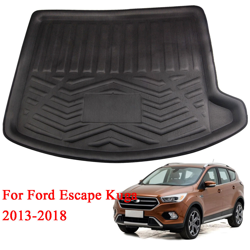 BBQ@FUKA 1pc Rubber Fit For Ford Escape Kuga 2013-2018 Boot Mat Rear Trunk Liner Cargo Floor Tray Carpet Anti-slip Accessories