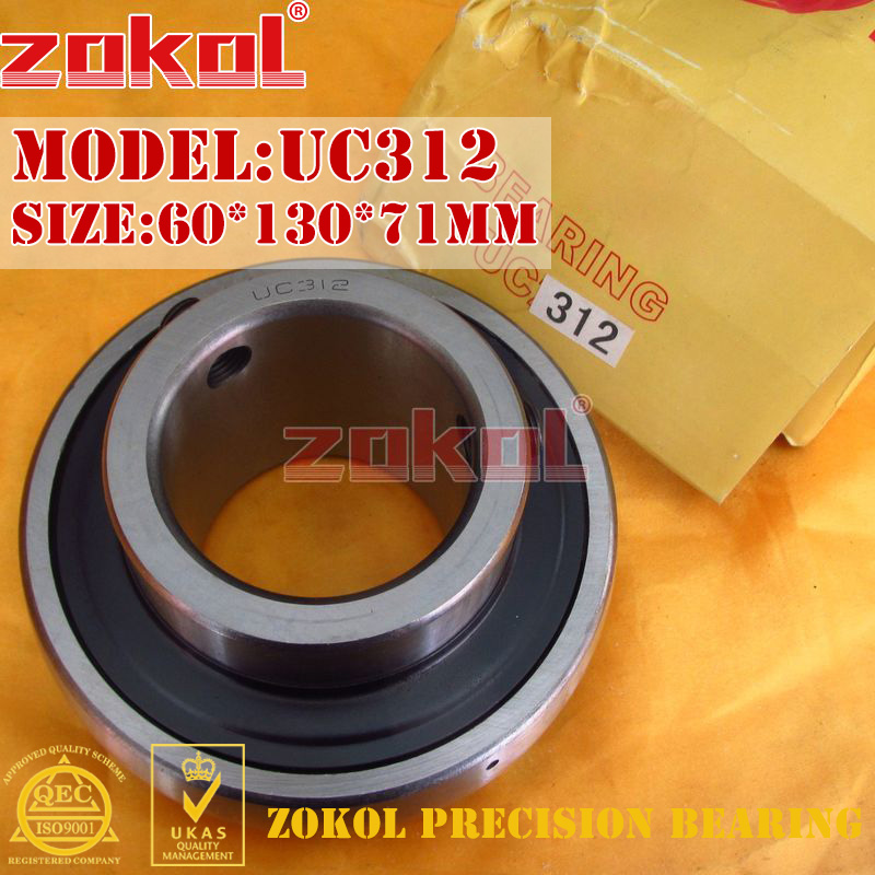 ZOKOL bearing UC312 90612 Pillow Block Ball Bearing 60*130*71mm zokol bearing 51312 thrust ball bearing 8312 160 200 31mm
