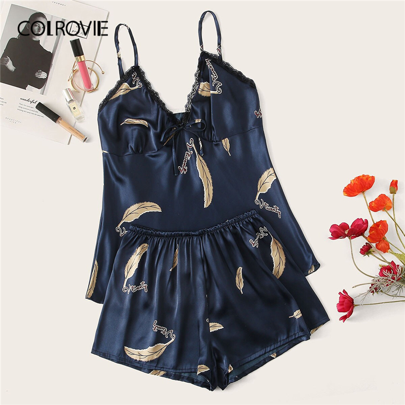 COLROVIE Feather Print Satin Cami Pajama Set Women Casual Short Sets 2019 Summer Underwear Nightgown Ladies Sleepwear