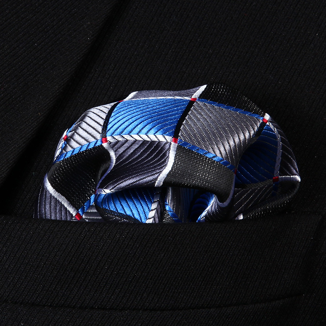 HC807B Blue Gray Check Men 100% Silk Party Handkerchief Pocket Square Hanky