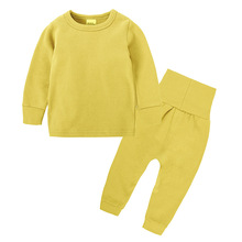 Children Sleepwear pure color cotton Childrens pajamas Suit Spring Autumn Clothes Boys Pajama Sets