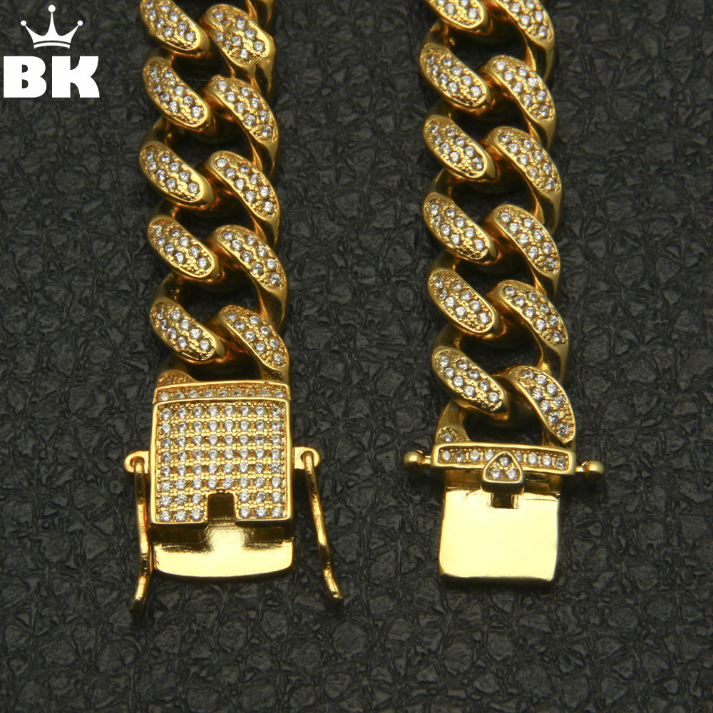 13.5mm Cubic Zircon Cuban Link Necklace Gold Silver Plated Luxury Copper Micro Paved CZ Cuban Chain  16/18/20/22/24inch 13.5mm Cubic Zircon Cuban Link Necklace Gold Silver Plated Luxury Copper Micro Paved CZ Cuban Chain  16/18/20/22/24inch