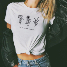 No Rain, No Flowers Vintage Inspired Graphic  Tumblr T-shirt 90s Grunge Tops