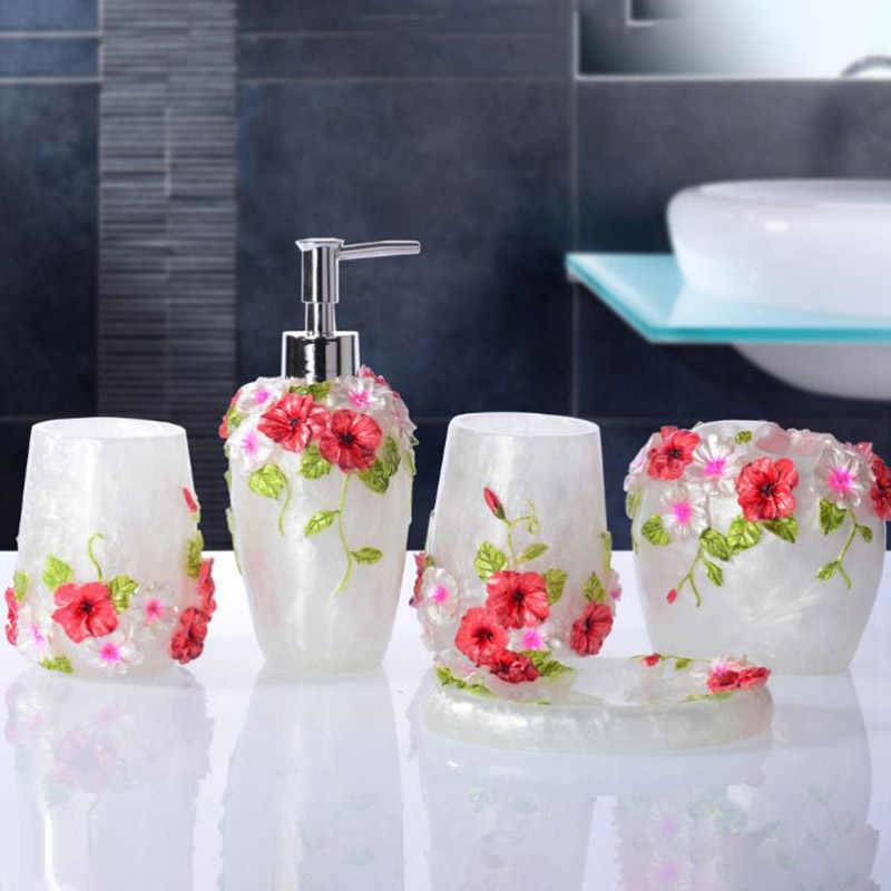 ONEUP zestawy akcesoriów łazienkowych 5 sztuk żywicy łazienka garnitur dozownik mydła w płynie/uchwyt szczoteczki do zębów/kubek/mydelniczka produkty do kąpieli zestaw do mycia