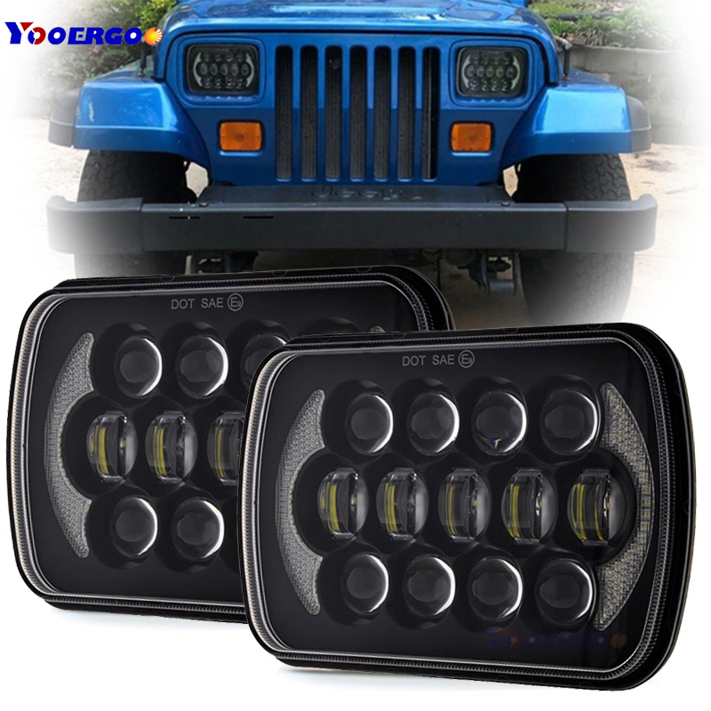 цены 105W 7x6 5x7 LED Rectangle Headlights for Jeep Wrangler YJ Cherokee XJ H6054 H5054 H6054LL 69822 6052 6053 Angel Eyes DRL