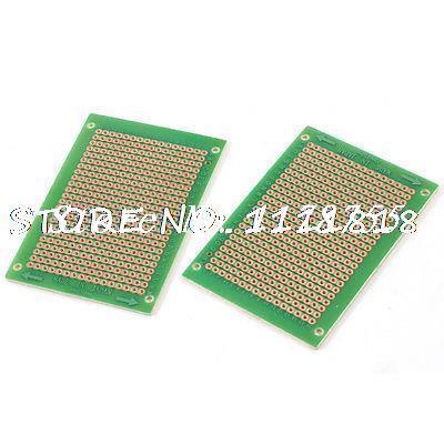 2 Pcs Rectangular Prototyping PCB Circuit Board Stripboard Veroboard 70x50mm 5pcs copper tone single side pcb printed circuit board stripboard 3 5 x 2 8