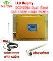 Mais novo LCD CDMA DCS Signal booster! DCS 1800 CDMA 850 Amplificador de potência Do Telefone Móvel, Telefone celular GSM Repetidor + antena 1 conjunto