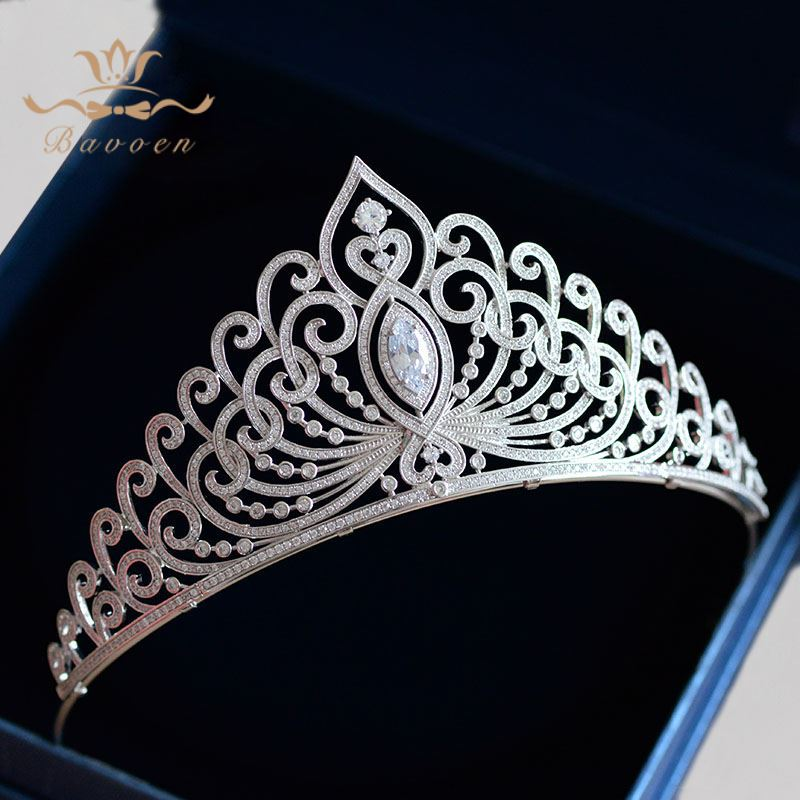 Bavoen High Quality Elegant Great Sliver Brides Crowns Tiaras Full Zircon Hair bands Evening Hair Jewelry Wedding Hair Accessory mi happiness red bride wedding hair tiaras gorgeous hair jewelry hanfu costume hair accessory