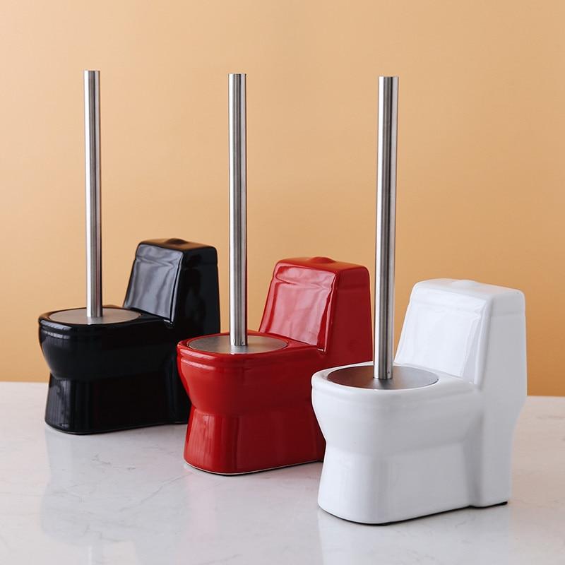 Toilet Brush Holders Bathroom Clearing Tool Standing Set Lavatory 304 Stainless Steel Handle Ceramic Toilet Clear