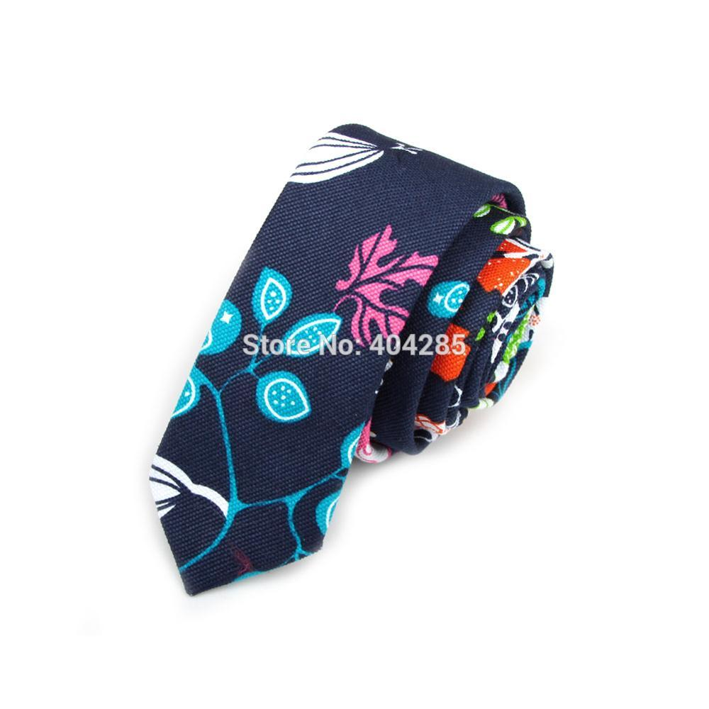 HOOYI 2019 Floral Cotton Print Men's Slim Tie 5cm Width Narrow